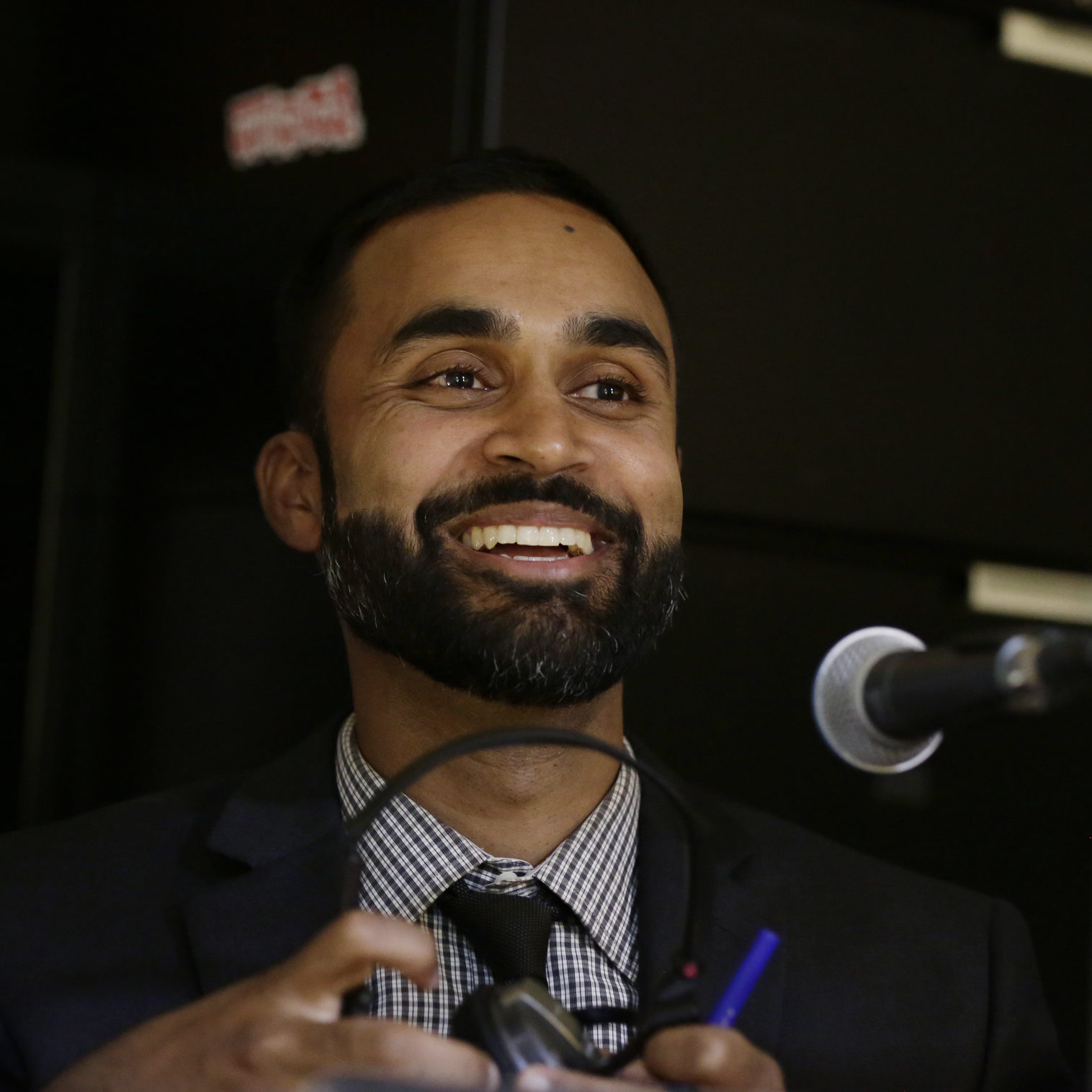 """Santa Clara County deputy public defender, Sajid Khan is photographed during a recording of  """"The Return,"""" podcast called """"Aider and Abettor."""" In San Jose, California, on Monday, July 31, 2017. (JosieLepe/Bay Area News Group)"""